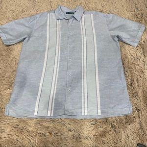 Cubavera men's collared light blue & white shirt